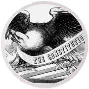 Eagle, 19th Century Round Beach Towel