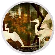 9 Egrets Round Beach Towel