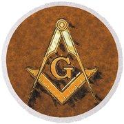 Freemason, Mason, Masonic Symbolism Round Beach Towel