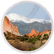 Garden Of The Gods And Pikes Peak Round Beach Towel