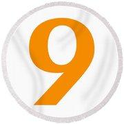 9 In Tangerine Typewriter Style Round Beach Towel