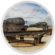 9 Inch Guns At Needles Old Battery Round Beach Towel