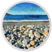 Livada Beach  Round Beach Towel