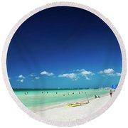 Main Beach Of Tropical Paradise Boracay Island Philippines Round Beach Towel