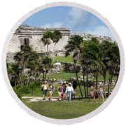 Mayan Temples At Tulum, Mexico Round Beach Towel