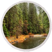 Merced River Yosemite Valley Round Beach Towel