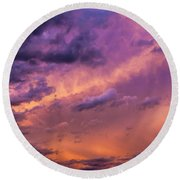 Nebraska Hp Supercell Sunset Round Beach Towel