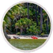 Palmetto Forest On Hunting Island Beach Round Beach Towel