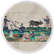Portraying The Chinese Tea Traders Round Beach Towel