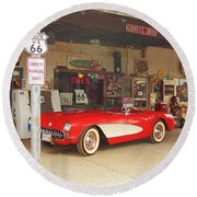 Route 66 Corvette Round Beach Towel