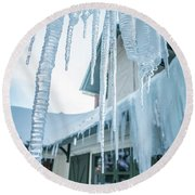 Snowshoe Mountain Village And Restaurants And Shops On A Sunny D Round Beach Towel