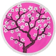 Spring Tree In Blossom, Painting Round Beach Towel