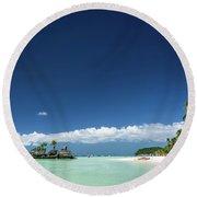 Station 2 Beach Area Of Boracay Tropical Paradise Island Philipp Round Beach Towel