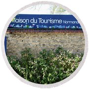 Street Scenes From Giverny France Round Beach Towel