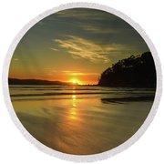 Sunrise Seascape From The Beach Round Beach Towel