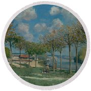 The Seine At Bougival Round Beach Towel