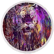Tiger Predator Fur Beautiful  Round Beach Towel