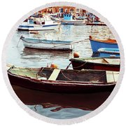 Traditional Boats At Marsaxlokk Harbor In Malta Round Beach Towel