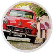 Vintage Car In Colonia Del Sacramento, Uruguay Round Beach Towel