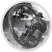 90 M P H Monocycle - 1933 Round Beach Towel