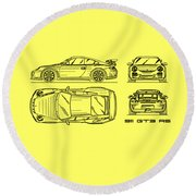911 Gt3 Rs Blueprint - White Round Beach Towel