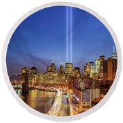 911 Tribute In Light In Nyc II Round Beach Towel