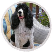 #940 D1034 Farmer Browns Springer Spaniel Round Beach Towel