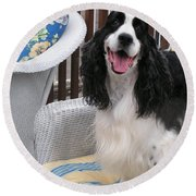 #940 D1036 Farmer Browns Springer Spaniel Happy For You Have A Happy Day Round Beach Towel