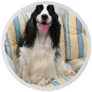 #940 D1075 Farmer Browns Happy For You Round Beach Towel