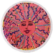 9th Day Of Christmas Round Beach Towel
