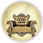 A A G - Antiquearmchairgold Round Beach Towel