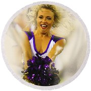 A Baltimore Ravens Cheerleader  Round Beach Towel