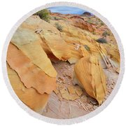 A Band Of Gold In Valley Of Fire Round Beach Towel