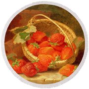 A Basket Of Strawberries On A Stone Ledge Round Beach Towel