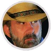 A Bearded Cowboy Round Beach Towel