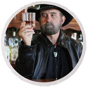 A Bearded Cowboy In Black Contemplates His Whiskey In A Saloon Round Beach Towel