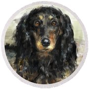 A Beautiful Artistic Painting Of A Dachshund  Round Beach Towel