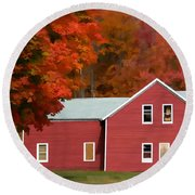 A Beautiful Country Building In The Fall 2 Round Beach Towel