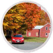 A Beautiful Country Building In The Fall 4 Round Beach Towel