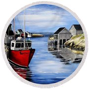 A Beautiful Day At Peggy's Cove  Round Beach Towel