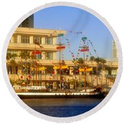 A Beautiful Day In Tampa Bay Round Beach Towel