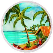 A Beautiful Day  Oahu #357 Round Beach Towel