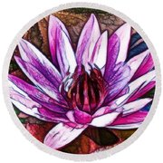 A Beautiful Purple Water Lilies Flower Round Beach Towel