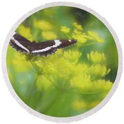A Beautiful Swallowtail Butterfly On A Yellow Wild Flower Round Beach Towel
