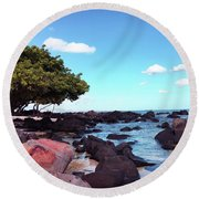 A Beautiful View Of The Sea From Mauritius Round Beach Towel