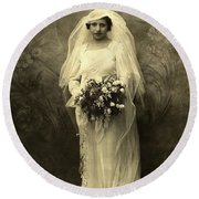 A Beautiful Vintage Photo Of Coloured Colored Lady In Her Wedding Dress Round Beach Towel