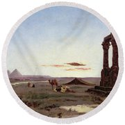 A Bedouin Encampment By A Ruined Temple  Round Beach Towel