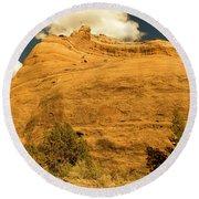 A Big Mountainous Rock On The Gemini Trail Moab Utah  Round Beach Towel