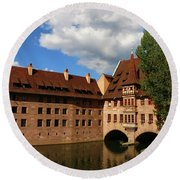 A Big Sky Over Old Architecture Round Beach Towel
