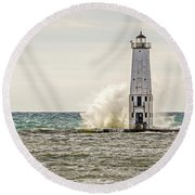 A Big Wave Crashes Into The Frankfort Light Round Beach Towel